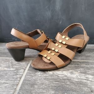 NEW Munro Maggie Brown Leather Slingback Sandals